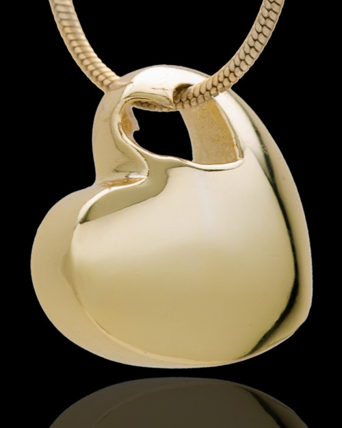 Small Natural Heart Cremation Urn Pendant Gold Plated