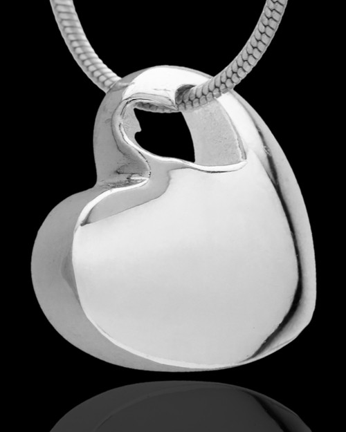 Small Natural Heart Cremation Urn Pendant Sterling Silver
