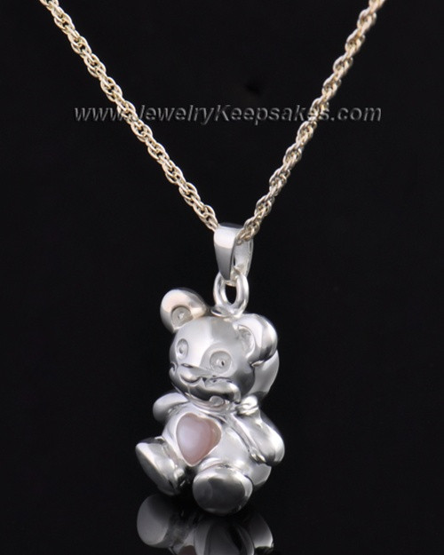 Sterling Silver Happy Bear with Pink Heart Cremation Pendant