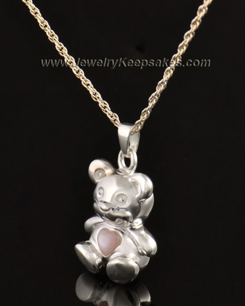 14k White Gold Happy Bear with Pink Heart Cremation Pendant