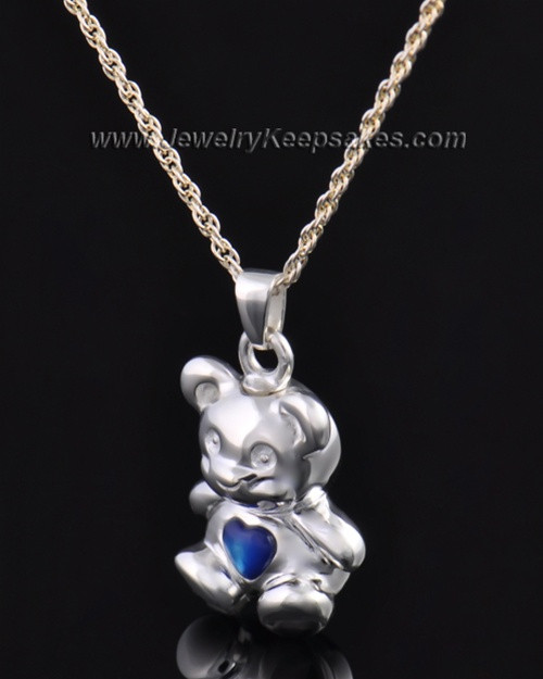 Sterling Silver Happy Bear with Blue Heart Cremation Pendant