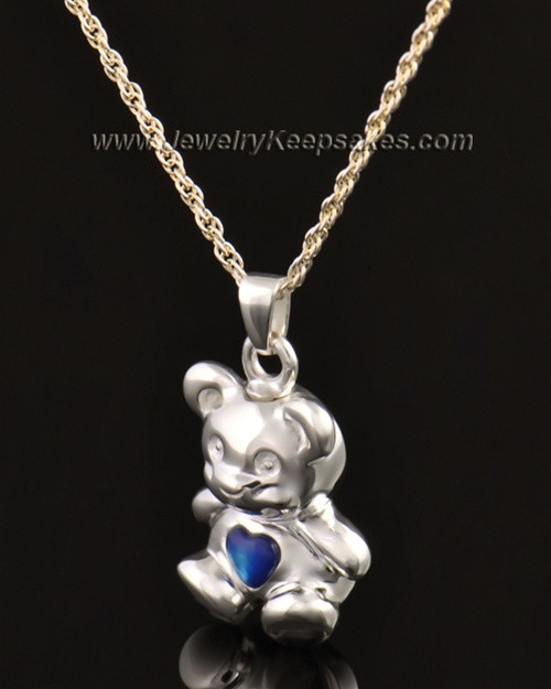 14k White Gold Happy Bear with Blue Heart Cremation Pendant