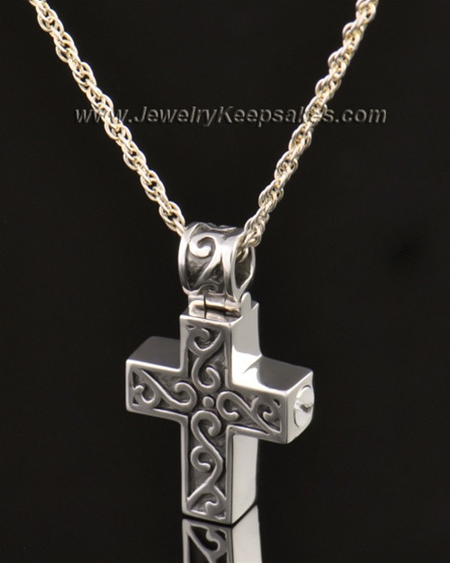14k White Gold Unity Cross Pendant