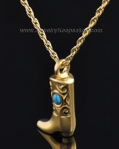 Gold Plated Country Boot Urn Pendant