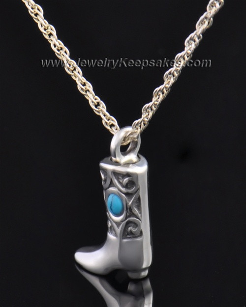 Sterling Silver Country Boot Urn Pendant