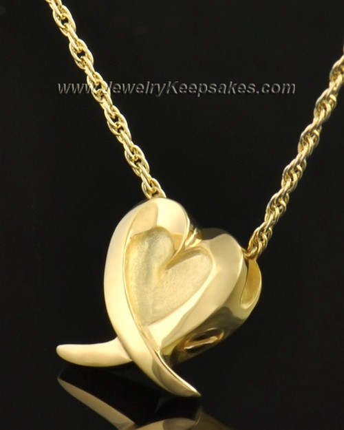 14k Gold Wrap Around Heart Pendant