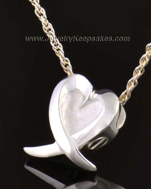 14k White Gold Wrap Around Heart Pendant