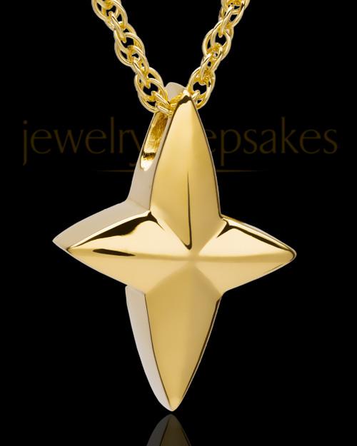 14k Gold Fancy Cross Urn Pendant