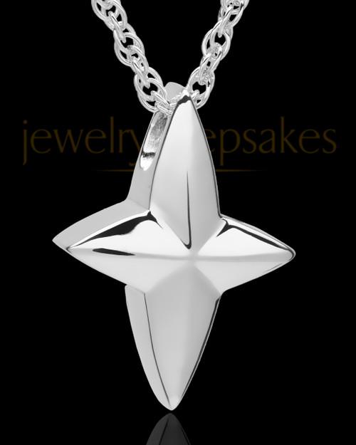 14k White Gold Fancy Cross Urn Pendant