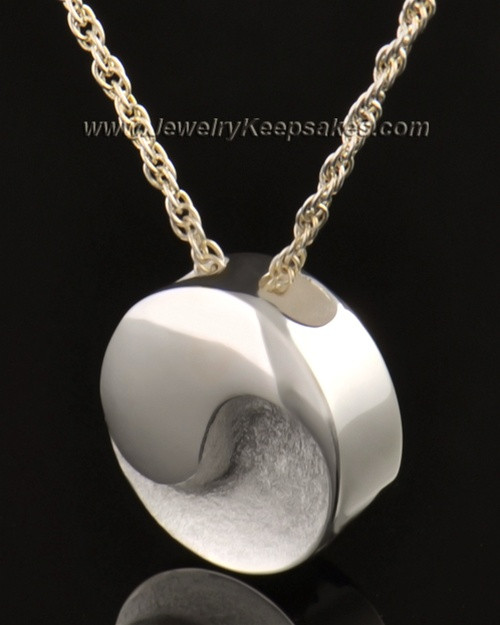 14k White Gold Paired Round Urn Pendant