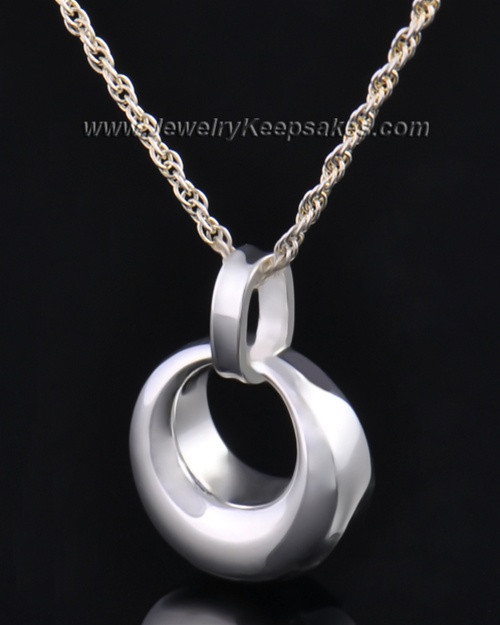 Sterling Silver Calming Round Urn Pendant