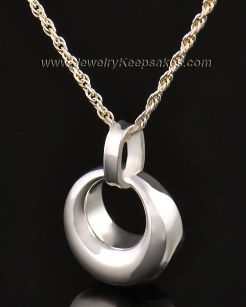 14k White Gold Calming Round Urn Pendant