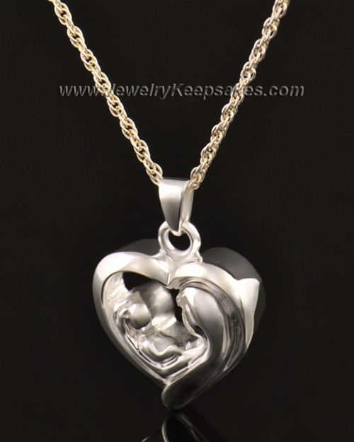 14k White Gold Bond of Love Heart Cremation Keepsake