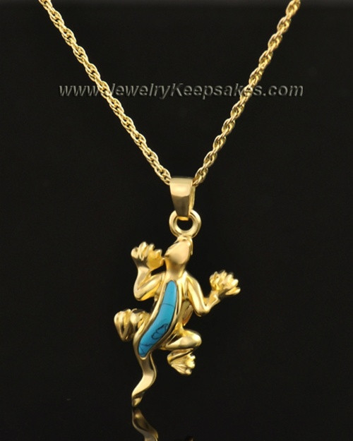 14k Gold Gecko with Turquoise Keepsake