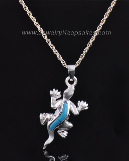 Sterling Silver Gecko with Turquoise Urn Pendant