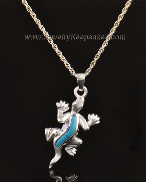 14k White Gold Gecko with Turquoise Urn Pendant