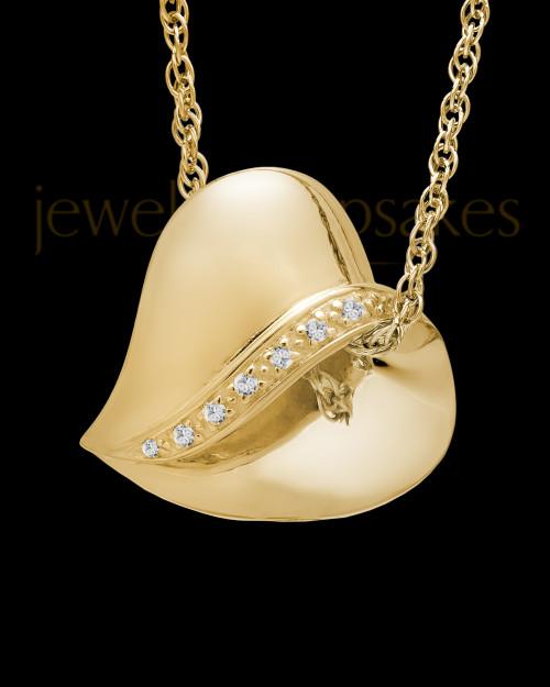 14k Gold Abiding Heart Cremation Keepsake