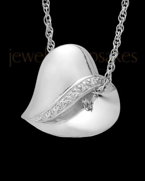 14k White Gold Abiding Heart Keepsake