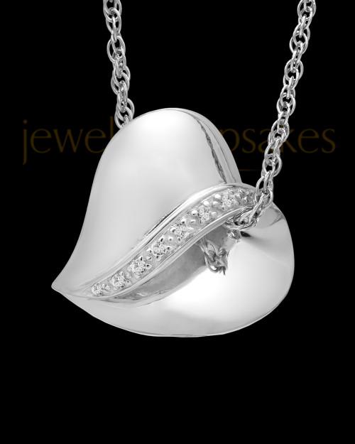 14k White Gold Abiding Heart Keepsake