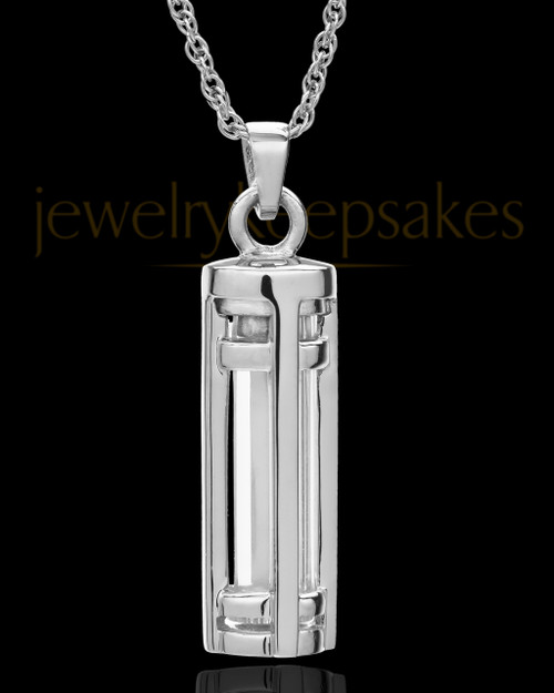 14k White Gold Hold Me Close Cylinder Keepsake
