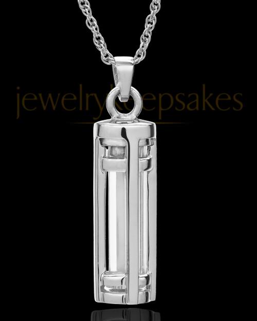 14k White Gold Hold Me Close Cylinder Keepsake