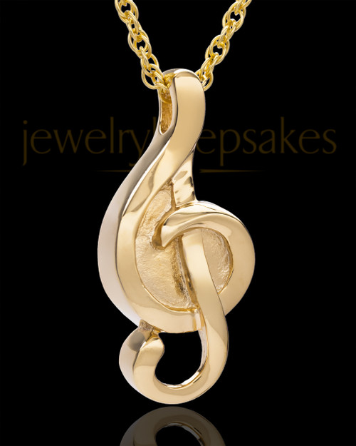Gold Plated Music to My Heart Cremation Necklace