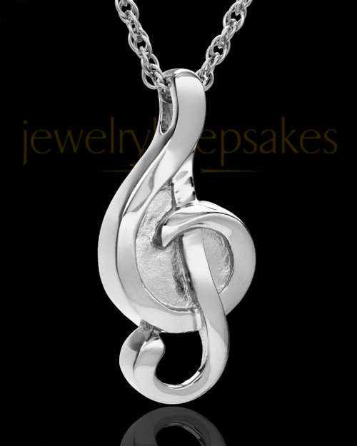 14k White Gold Music to My Heart Cremation Necklace