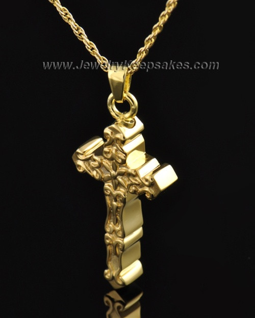Gold Plated Embellished Cross Cremation Necklace