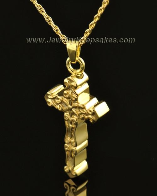 14k Gold Embellished Cross Cremation Necklace