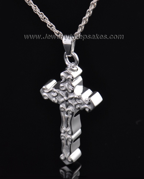 Sterling Silver Embellished Cross Cremation Necklace