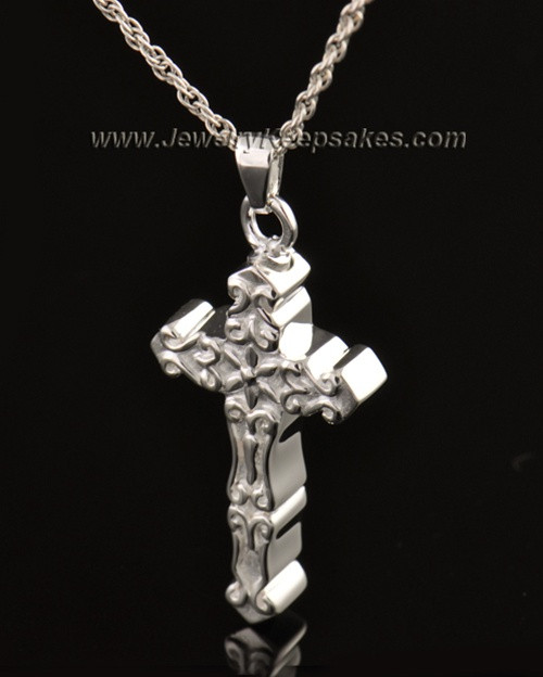 14k White Gold Embellished Cross Cremation Necklace