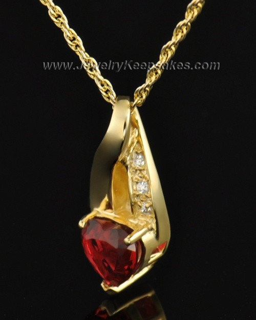 Gold Plated Hearts Desire Cremation Necklace