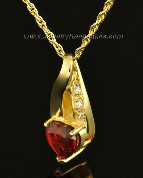 14k Gold Hearts Desire Cremation Necklace