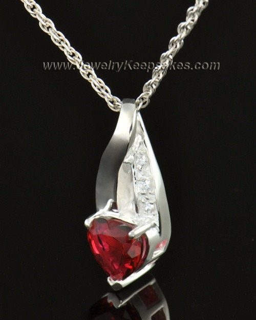 14k White Gold Hearts Desire Cremation Necklace