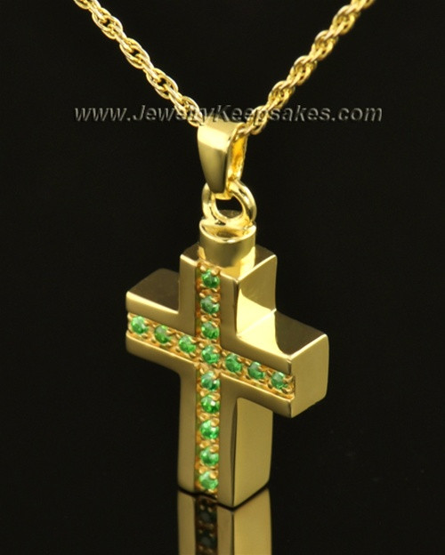 14k Gold Spring Cross Cremation Necklace