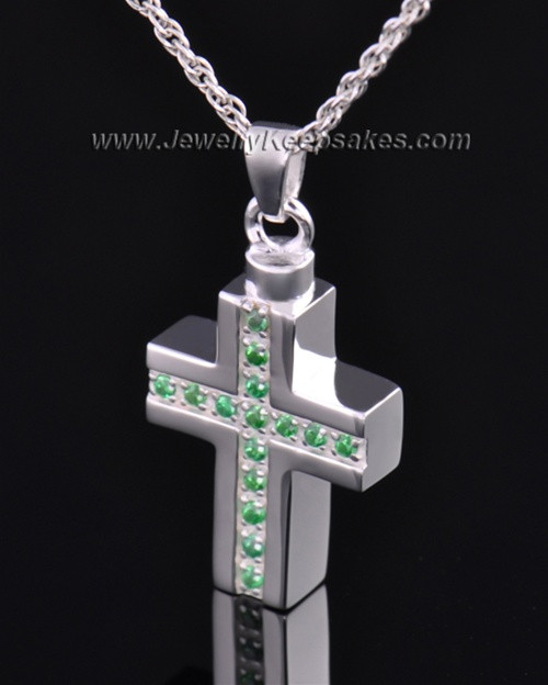 Sterling Silver Spring Cross Cremation Necklace