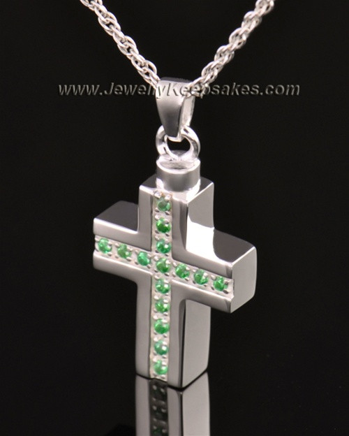 14k White Gold Spring Cross Cremation Necklace