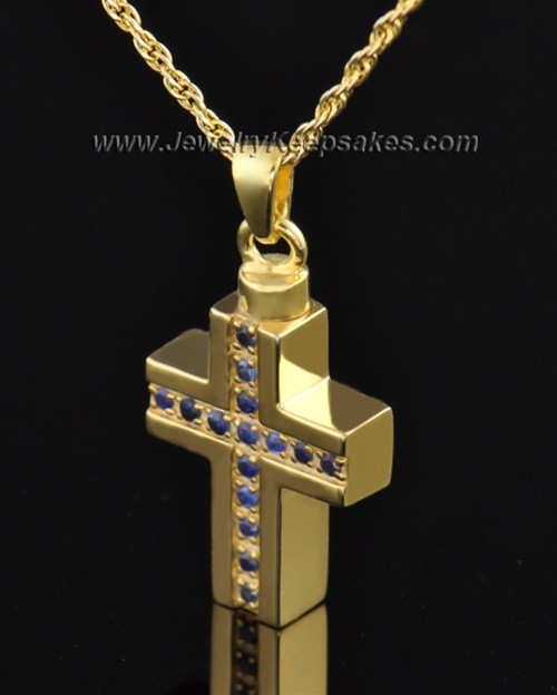 Gold Plated Royal Cross Cremation Necklace