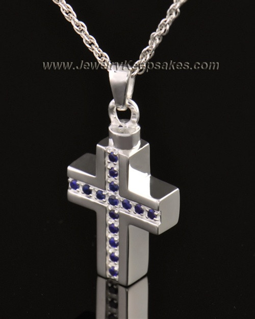 14k White Gold Royal Cross Cremation Necklace