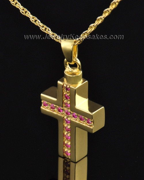 Gold Plated Tender Cross Cremation Necklace