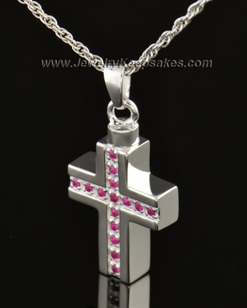 14k White Gold Tender Cross Cremation Necklace