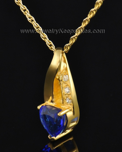 Gold Plated Midnight Blue Cremation Necklace