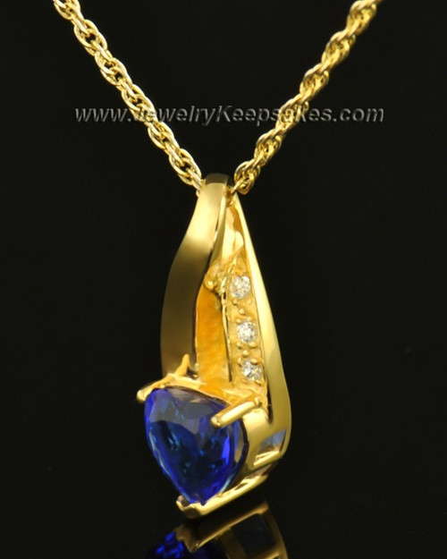 14k Gold Midnight Blue Cremation Necklace