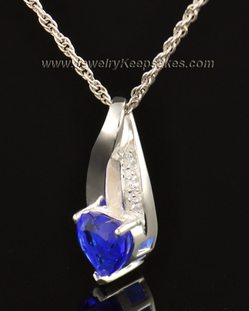 14k White Gold Midnight Blue Cremation Necklace