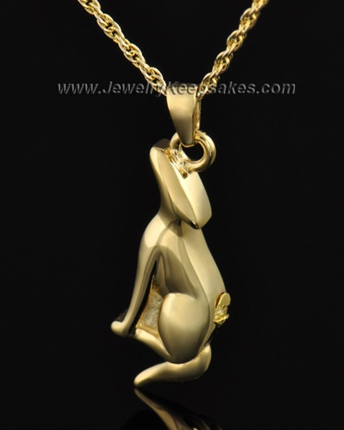 Gold Plated Delightful Dog Cremation Necklace