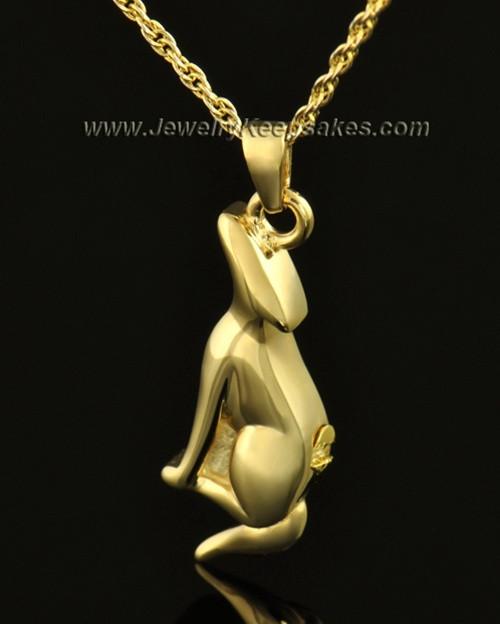 14k Gold Delightful Dog Cremation Necklace