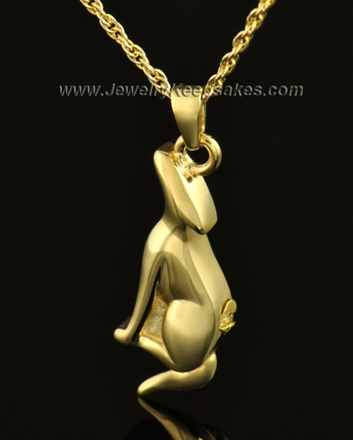 14k Gold Delightful Dog Cremation Necklace