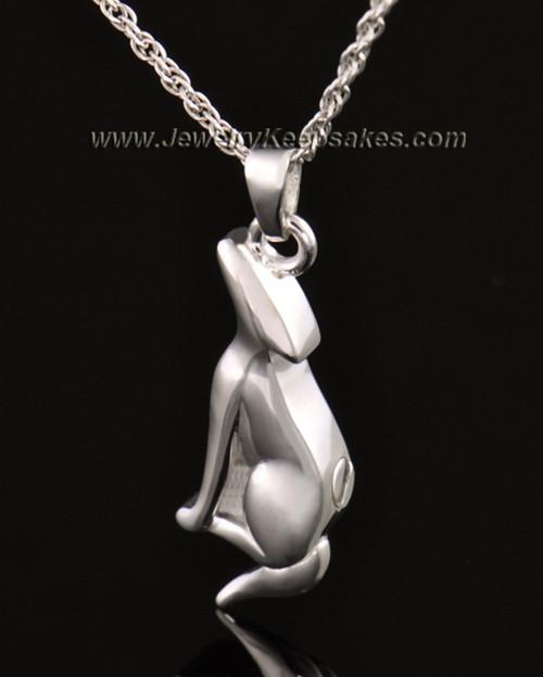 14k White Gold Delightful Dog Cremation Necklace
