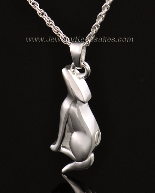 14k White Gold Delightful Dog Cremation Necklace