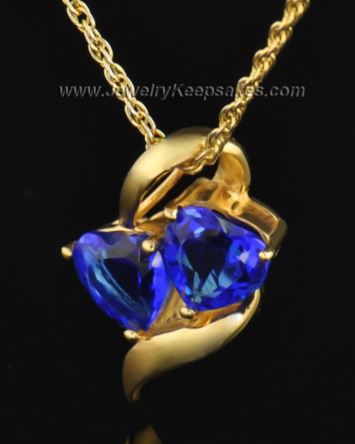 Gold Plated Hearts Entwined Cremation Necklace